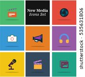 flat icons set of multimedia... | Shutterstock .eps vector #535631806