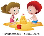 two kids playing with... | Shutterstock .eps vector #535638076
