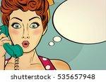 surprised pop art woman... | Shutterstock .eps vector #535657948