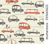 seamless cartoon map of cars... | Shutterstock .eps vector #535665622