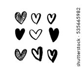 hearts hand drawn vector art... | Shutterstock .eps vector #535665982