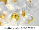 golden christmas balls on white ... | Shutterstock . vector #535676992