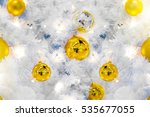 golden christmas balls on white ... | Shutterstock . vector #535677055