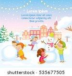 winter scene with kids making... | Shutterstock .eps vector #535677505