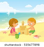 children making sand castle at... | Shutterstock .eps vector #535677898