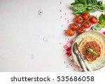 italian pasta bolognese.... | Shutterstock . vector #535686058