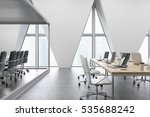 open office with rost of tables ... | Shutterstock . vector #535688242