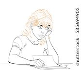 young woman writes a letter ...   Shutterstock . vector #535694902