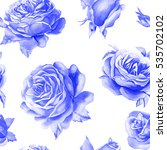 rose budget pattern seamless.... | Shutterstock . vector #535702102