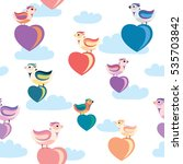 seamless pattern birds and... | Shutterstock .eps vector #535703842
