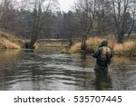 fisherman fishing on a small... | Shutterstock . vector #535707445