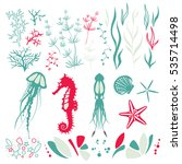 the inhabitants of the seabed... | Shutterstock .eps vector #535714498