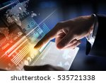 businessman hand touching with... | Shutterstock . vector #535721338