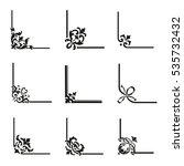 set of 9 decorative corners  | Shutterstock .eps vector #535732432