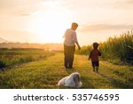 grandmother  daughter and a dog ... | Shutterstock . vector #535746595