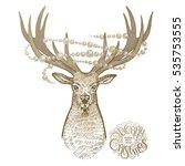 deer  sparkling garland and... | Shutterstock .eps vector #535753555