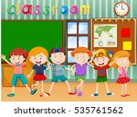 many children in classroom... | Shutterstock .eps vector #535761562