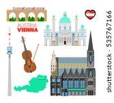 vienna austria travel doodle... | Shutterstock .eps vector #535767166