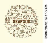 seafood minimal thin line icons ... | Shutterstock .eps vector #535772125