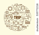 trip minimal thin line icons... | Shutterstock .eps vector #535772218