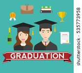 graduation day. man and woman... | Shutterstock .eps vector #535773958