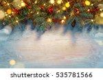 Christmas Fir Tree With Golden...