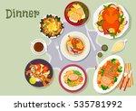christmas dinner icon of baked... | Shutterstock .eps vector #535781992