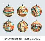 christmas balls with geometric... | Shutterstock .eps vector #535786432