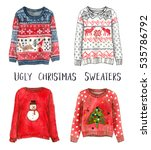 ugly christmas sweaters.... | Shutterstock . vector #535786792