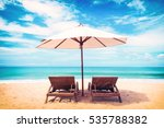 beautiful beach. chairs on the  ... | Shutterstock . vector #535788382