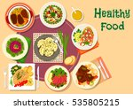 meat dishes with salad icon of...   Shutterstock .eps vector #535805215