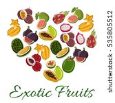 heart of exotic fruit with... | Shutterstock .eps vector #535805512
