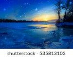 winter landscape trees on the... | Shutterstock . vector #535813102