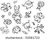 silhouettes of cute animals and ... | Shutterstock .eps vector #53581723