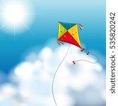 background scene with kite in...   Shutterstock .eps vector #535820242