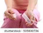 women hand holding stool test | Shutterstock . vector #535830736