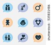 set of 9 editable kin icons....