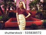 fashionable blonde woman in red ... | Shutterstock . vector #535838572