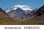 Small photo of Aconcagua Mountain with snow and ice in a good weather day