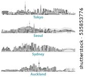 vector skylines of tokyo  seoul ...   Shutterstock .eps vector #535853776