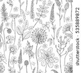 hand drawn seamless pattern... | Shutterstock .eps vector #535889872
