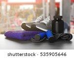 sport stuff on table against...   Shutterstock . vector #535905646