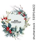 watercolor christmas forest... | Shutterstock . vector #535914622