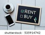 rent not buy blackboard concept.... | Shutterstock . vector #535914742