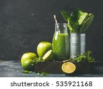 green smoothie in bottle with... | Shutterstock . vector #535921168