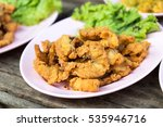 close fried crispy fish pieces... | Shutterstock . vector #535946716