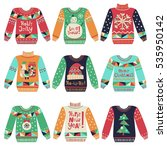 cute ugly christmas sweaters... | Shutterstock .eps vector #535950142