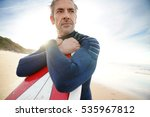 portrait of mature surfer... | Shutterstock . vector #535967812