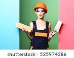 pretty cute sexy builder girl... | Shutterstock . vector #535974286