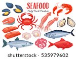 Seafood In Cartoon Style....